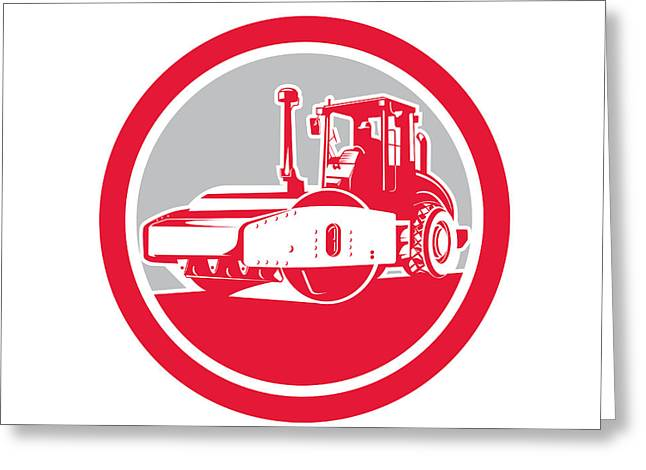Road Roller Greeting Cards - Road Compactor Circle Retro  Greeting Card by Aloysius Patrimonio