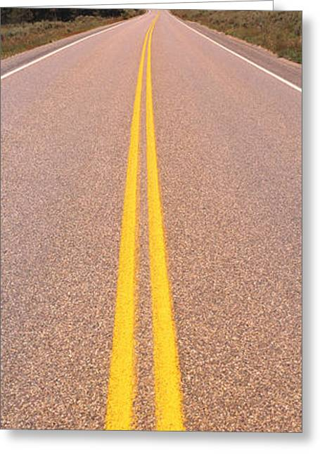 Double Yellow Line Greeting Cards - Road Grand Teton National Park Wy Greeting Card by Panoramic Images