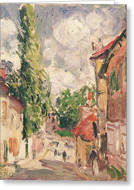 Rue Greeting Cards - Road In A Village Oil On Canvas Greeting Card by Alfred Sisley