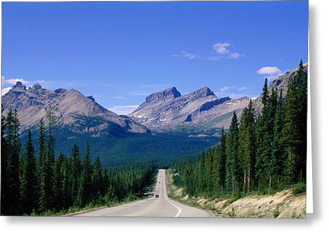 Roadway Greeting Cards - Road In Canadian Rockies, Alberta Greeting Card by Panoramic Images