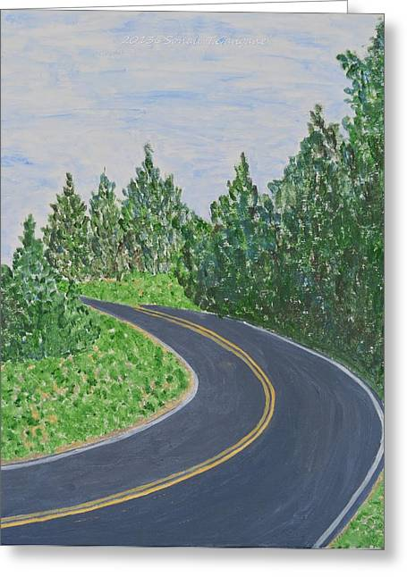 Vaction Greeting Cards - Road in Colonial Park Greeting Card by Sonali Gangane