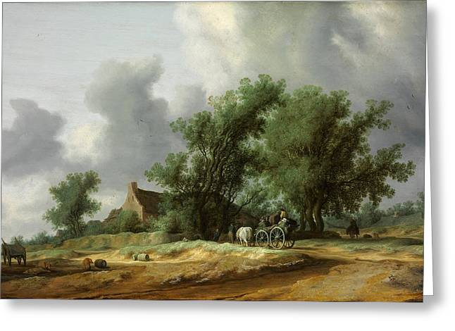 Landscape With A Road Greeting Cards - Road in the Dunes with a Passanger Coach Greeting Card by Salomon van Ruysdael