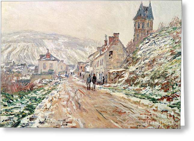 France 1874-1886 Greeting Cards - Road in Vetheuil in winter Greeting Card by Claude Monet