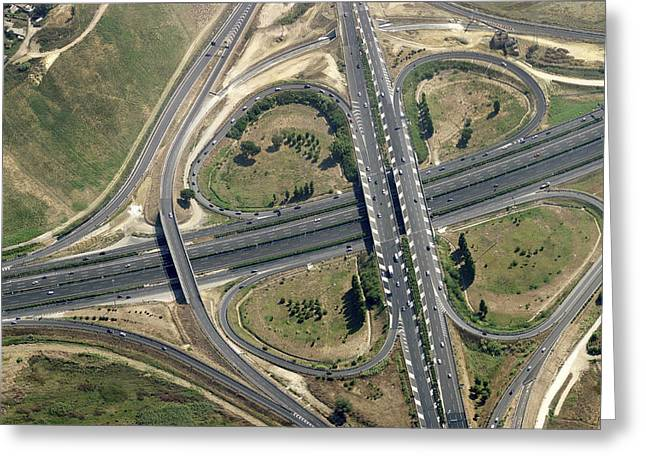 Geometric Design Photographs Greeting Cards - Road Junction, Rome Greeting Card by Blom ASA