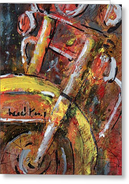 Spokes Paintings Greeting Cards - Road King 2 Greeting Card by Doug Davies
