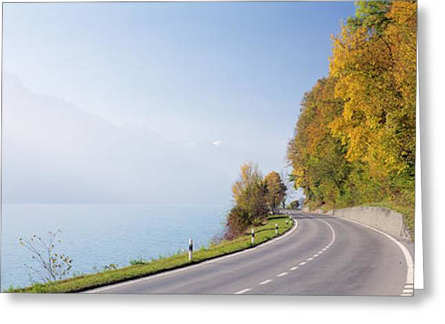 Morning Mist Images Greeting Cards - Road, Lake, Brienz, Switzerland Greeting Card by Panoramic Images