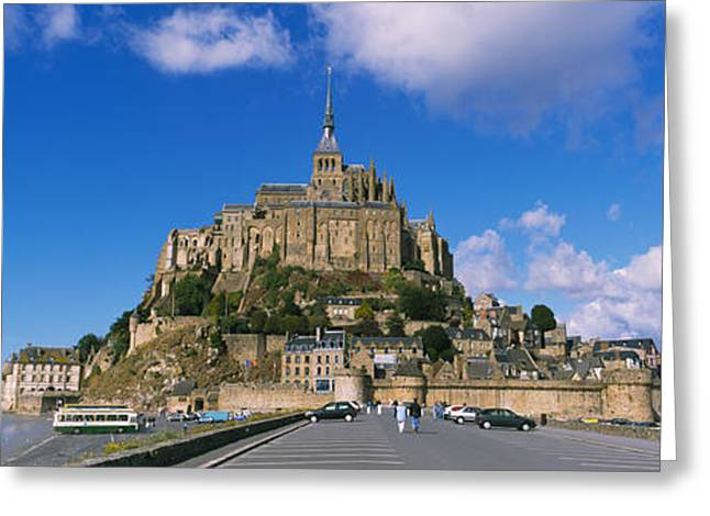 Tranquil Place Greeting Cards - Road Leading Towards A Church, Le Mont Greeting Card by Panoramic Images
