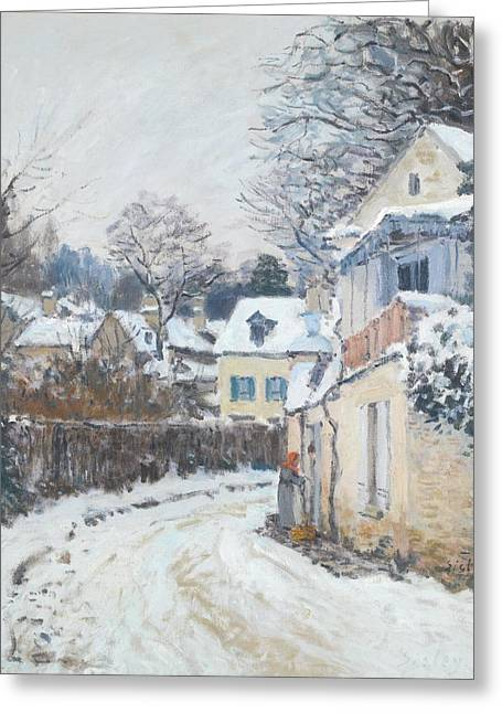 Winter Roads Drawings Greeting Cards - Road Louveciennes Greeting Card by Celestial Images