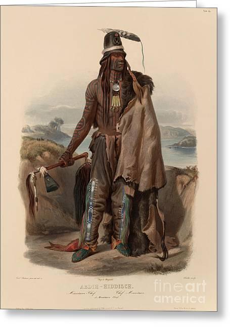 Historical Buildings Greeting Cards - Road Maker - Hidatsa Chief Greeting Card by Karl Bodmer