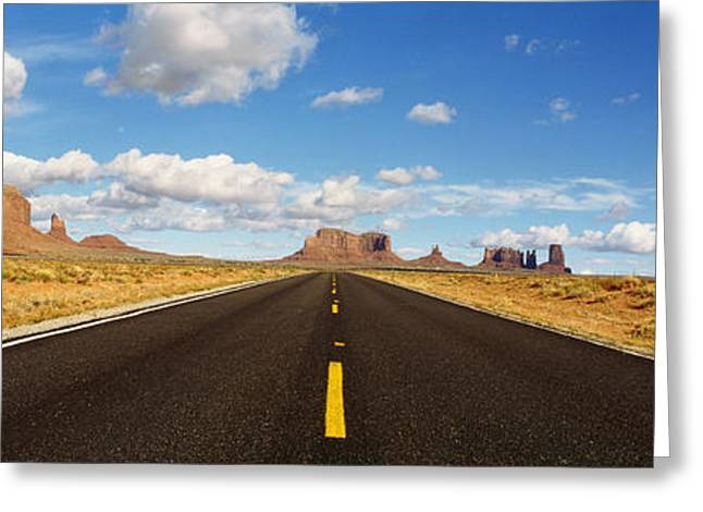 Navaho Greeting Cards - Road, Monument Valley, Arizona, Usa Greeting Card by Panoramic Images
