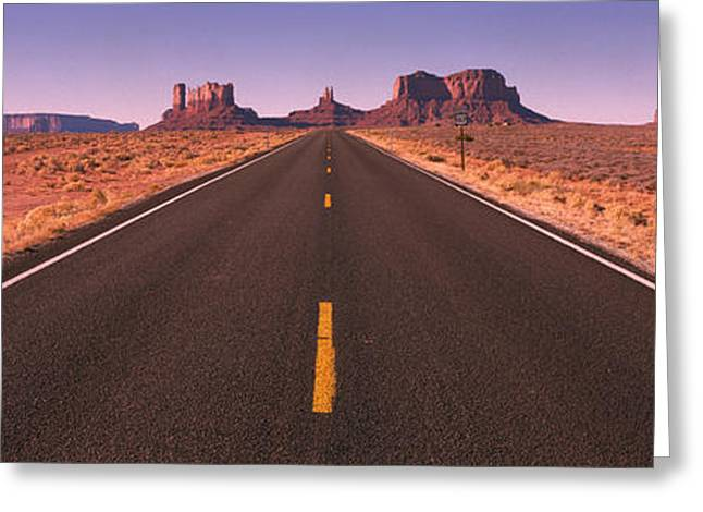 Roadway Greeting Cards - Road Monument Valley  Az Usa Greeting Card by Panoramic Images