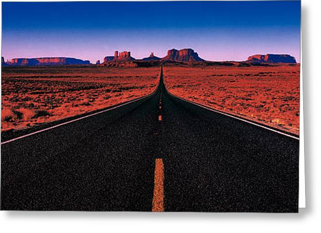 Ut Greeting Cards - Road Monument Valley Tribal Park Ut Usa Greeting Card by Panoramic Images