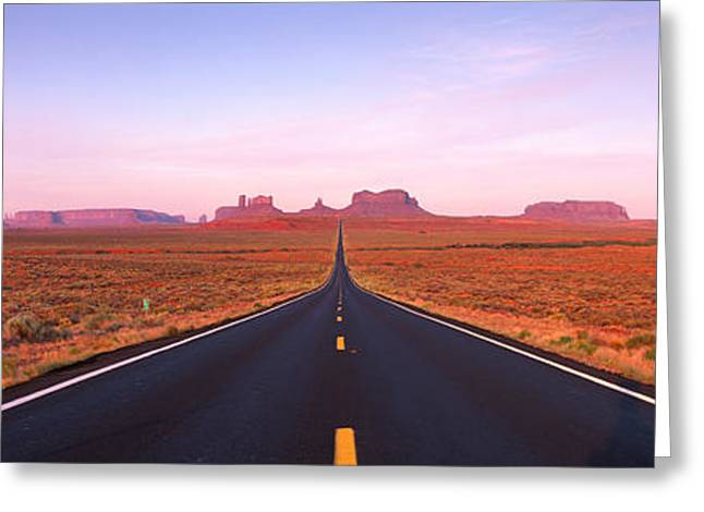 Roadway Greeting Cards - Road Monument Valley, Utah, Usa Greeting Card by Panoramic Images