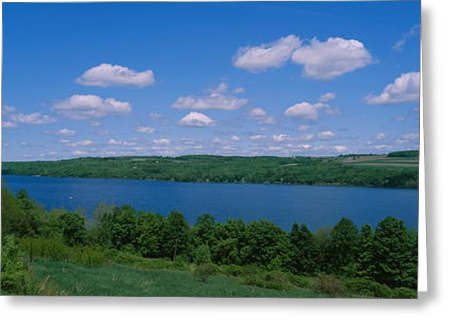 Finger Lakes Greeting Cards - Road Near A Lake, Owasco Lake, Finger Greeting Card by Panoramic Images