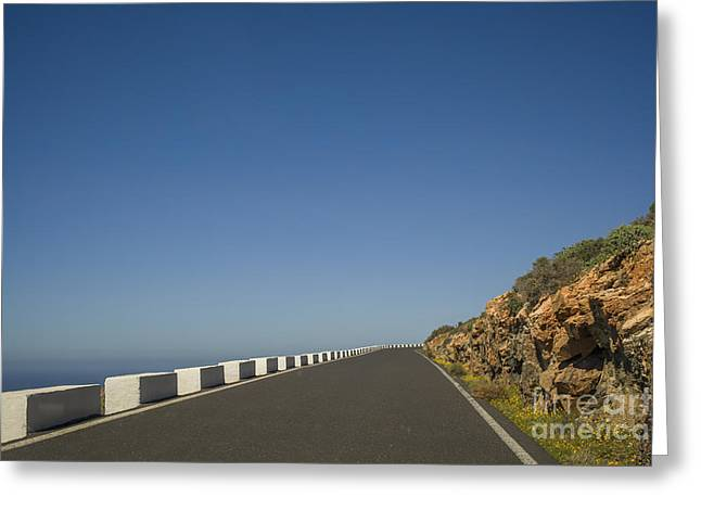 Paradise Road Greeting Cards - Road near the ocean Greeting Card by Patricia Hofmeester
