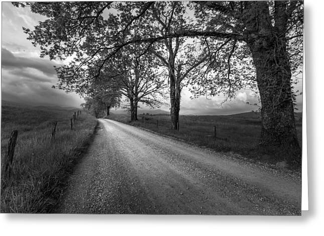 Smokey Mountains Greeting Cards - Road not Traveled Greeting Card by Jon Glaser