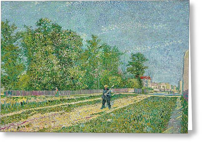 Suburb Greeting Cards - Road on the edge of Paris Greeting Card by Vincent Van Gogh