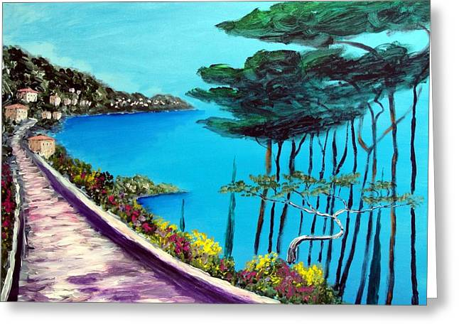 Road On The Riviera Greeting Card by Larry Cirigliano