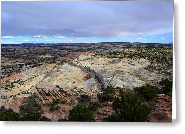 Black Top Greeting Cards - Road over Slick Rock Greeting Card by David Lee Thompson