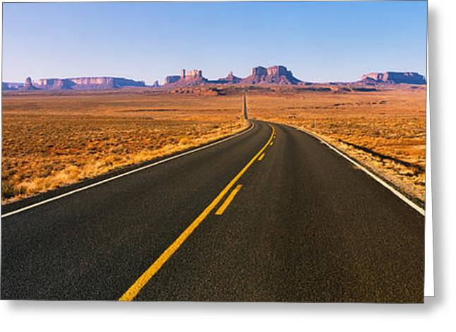 Double Yellow Line Greeting Cards - Road Passing Through A Desert, Monument Greeting Card by Panoramic Images