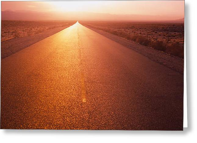 Diminishing Greeting Cards - Road Passing Through A Desert, Nevada Greeting Card by Panoramic Images