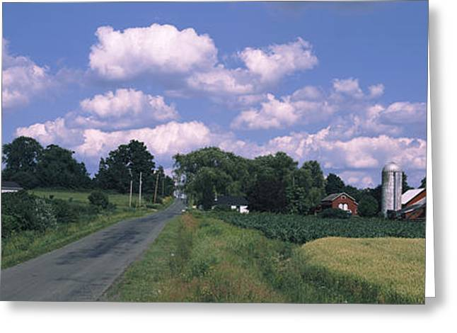 Finger Lakes Region Greeting Cards - Road Passing Through A Farm, Emmons Greeting Card by Panoramic Images