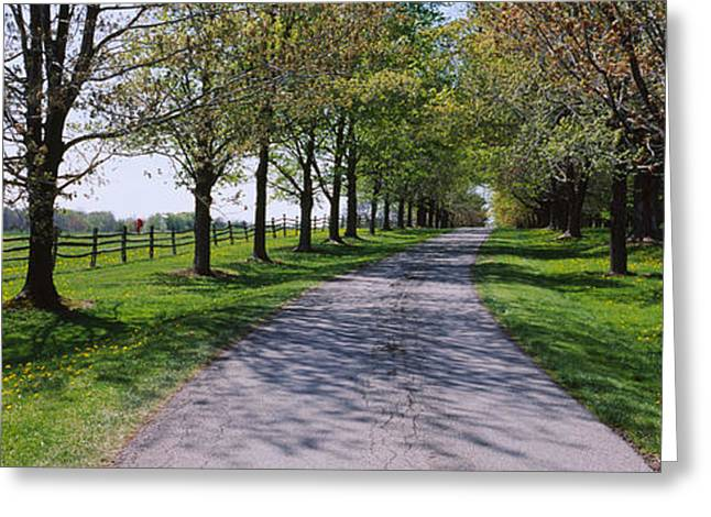 Farm Photography Greeting Cards - Road Passing Through A Farm, Knox Farm Greeting Card by Panoramic Images