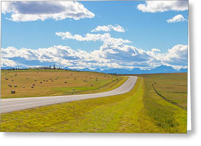 Bale Greeting Cards - Road Passing Through A Field, Alberta Greeting Card by Panoramic Images