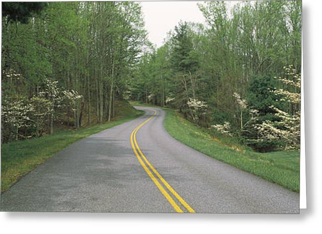 Double Yellow Line Greeting Cards - Road Passing Through A Landscape, Blue Greeting Card by Panoramic Images