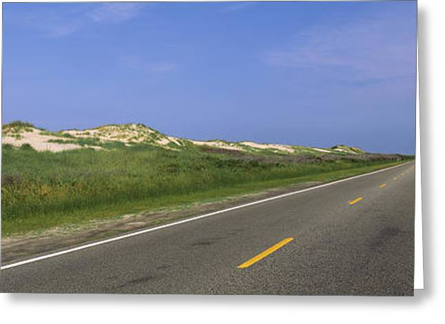Cape Hatteras Greeting Cards - Road Passing Through A Landscape, North Greeting Card by Panoramic Images