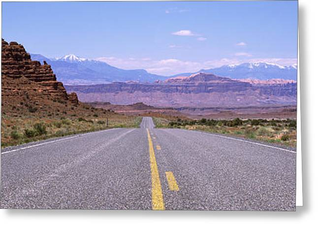 Road Marking Greeting Cards - Road Passing Through A Landscape, Utah Greeting Card by Panoramic Images
