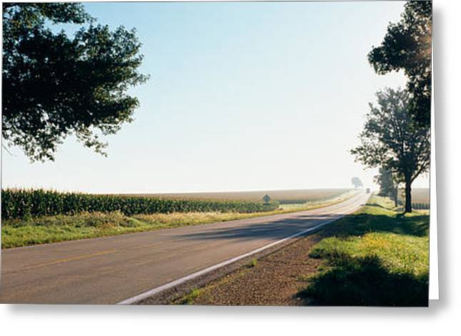 Road Marking Greeting Cards - Road Passing Through Fields, Illinois Greeting Card by Panoramic Images