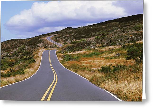 The Hills Greeting Cards - Road Passing Through Hills, Maui Greeting Card by Panoramic Images
