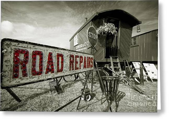 Cats Show Greeting Cards - Road Repairs  Greeting Card by Rob Hawkins
