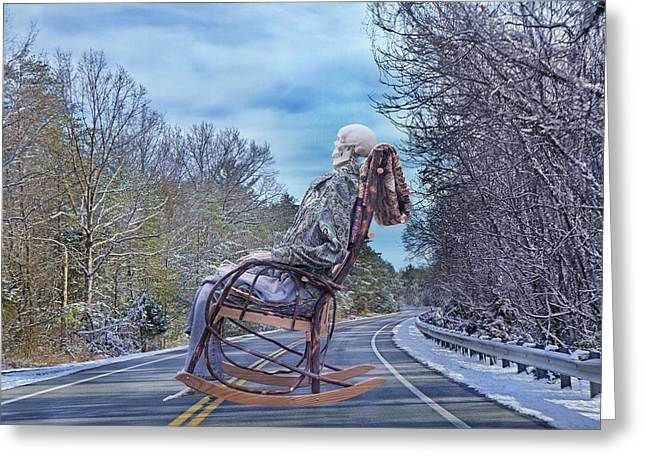 Rocking Chairs Digital Art Greeting Cards - Road Rocker Greeting Card by Betsy A  Cutler