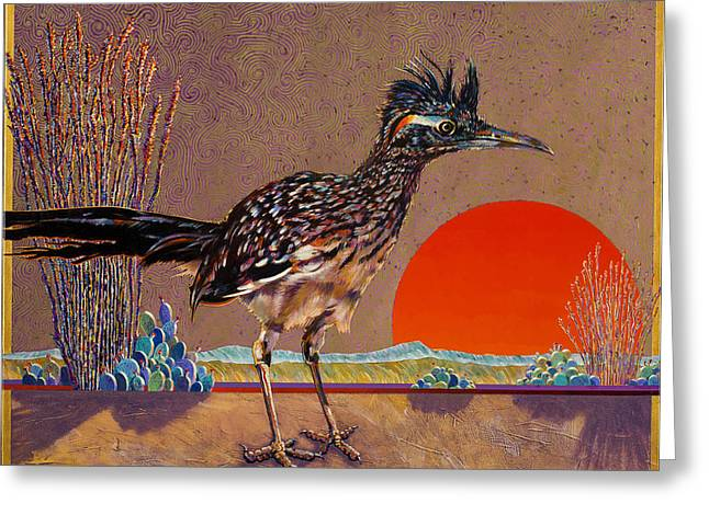 Imagined Landscape Greeting Cards - Road Runner at Sundown Greeting Card by Bob Coonts
