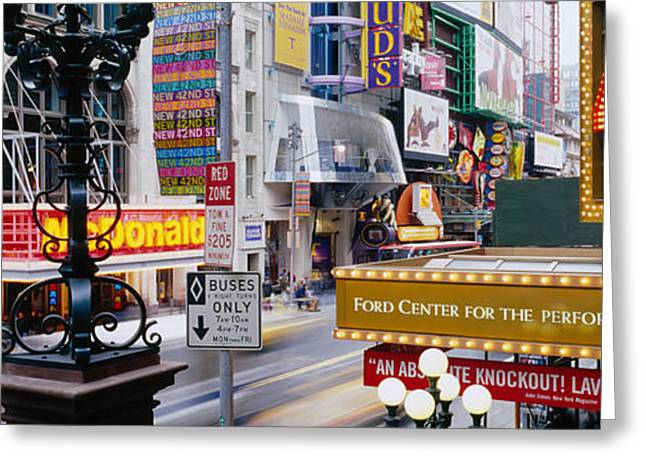 Theater Greeting Cards - Road Running Through A Market, 42nd Greeting Card by Panoramic Images