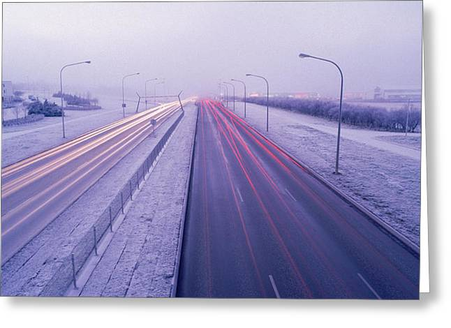 Long Street Greeting Cards - Road Running Through A Snow Covered Greeting Card by Panoramic Images
