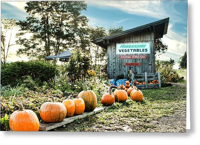 Farm Stand Greeting Cards - Road-side Vegetable Stand Greeting Card by Debra Millet