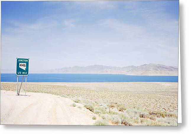Road Marking Greeting Cards - Road Sign At The Roadside, Nevada State Greeting Card by Panoramic Images