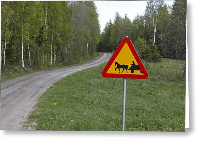 Road sign with carriage Greeting Card by Intensivelight