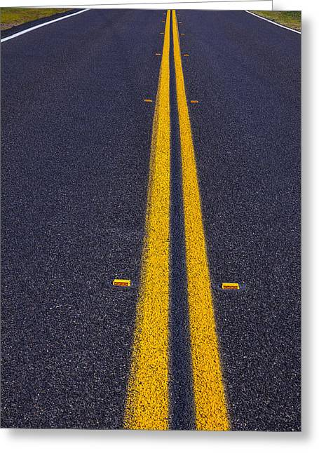 Yellow Line Photographs Greeting Cards - Road stripe  Greeting Card by Garry Gay
