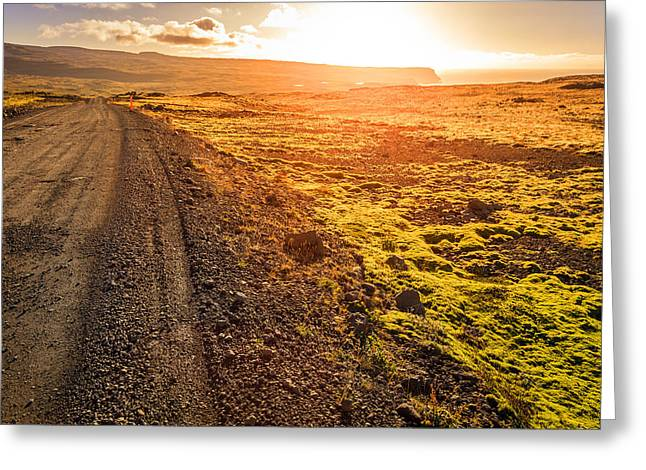 Gravel Road Greeting Cards - Road though Wesfjords Greeting Card by Alexey Stiop