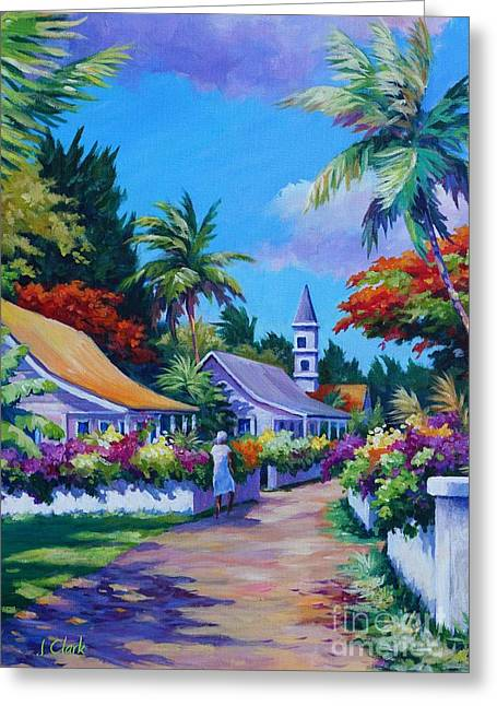 West Indies Greeting Cards - Road Through Eden Greeting Card by John Clark