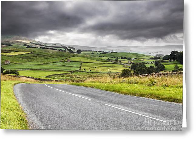 England Landscape Greeting Cards - Road Through Wensleydale  Greeting Card by Colin and Linda McKie