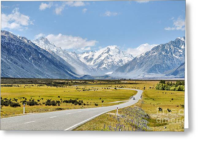 Recently Sold -  - Snow Scene Landscape Greeting Cards - Road to Aoraki Greeting Card by Delphimages Photo Creations