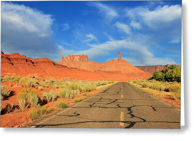 Scenic Drive Greeting Cards - Road to Castleton Tower Greeting Card by Johnny Adolphson