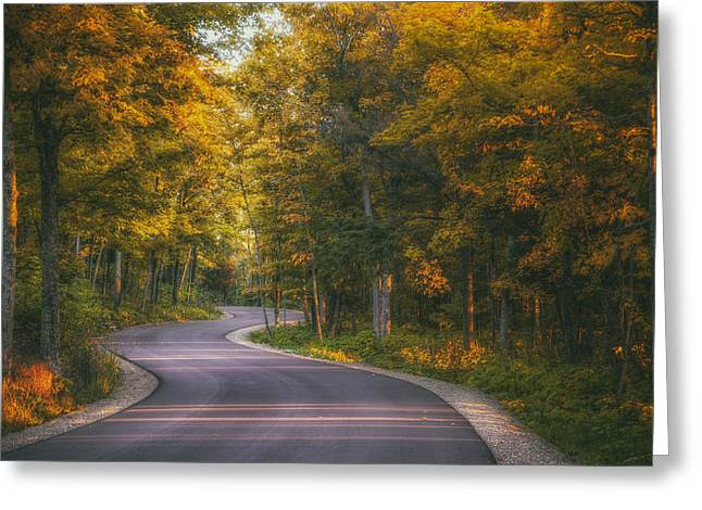 Cave Greeting Cards - Road to Cave Point Greeting Card by Scott Norris