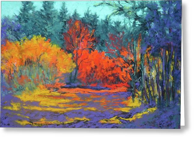 Oregon Pastels Greeting Cards - Road to Deer Creek Greeting Card by Nancy Jolley
