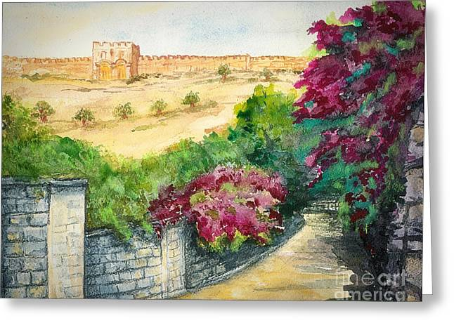 Bible Paintings Greeting Cards - Road To Eastern Gate Greeting Card by Janis Lee Colon
